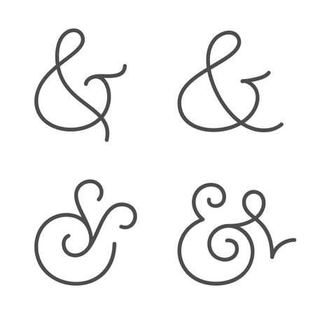 orthographic symbol: Four elegant and stylish custom ampersands for wedding invitation or business card  Vector illustration
