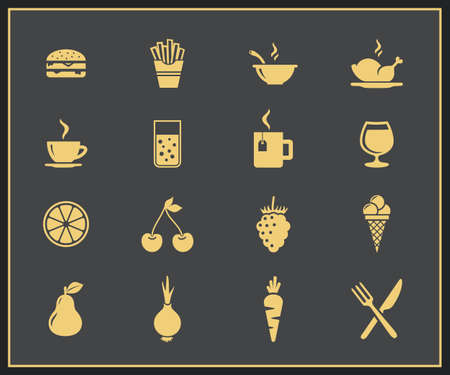 broth: Food and drink icon set  Drinks, fastfood, fruits and vegetables vector icons Illustration