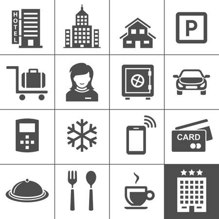 intercom: Hotel icon set  Vector icons for hotel booking and reservations app  Simplus series Illustration
