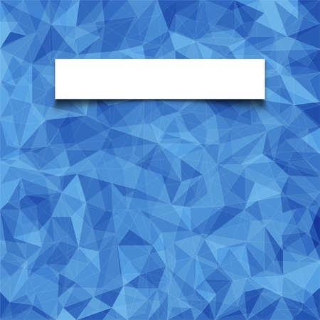 vector pattern: Abstract  blue mosaic pattern with blank white paper banner with shadow  Vector pattern with paper for title or login form