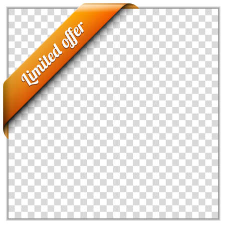 corner ribbon: White paper frame and corner ribbon on transparent background  Put your own background image  Vector illustration