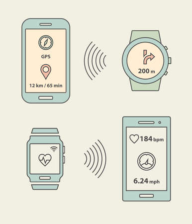 wristband: Smartwatche, fitness tracker and smartphones communication  Smartphone sending message with GPS position to smartwatch  Vector illustration