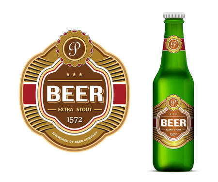 green beer: Beer label template and green beer bottle label mockup  Vector illustration Illustration