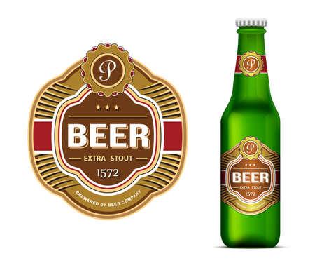 botellas de cerveza: Plantilla de la etiqueta de la cerveza y el verde etiqueta de la botella de cerveza maqueta ilustración vectorial