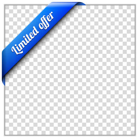 sales promotion: Blue corner ribbon template with white paper frame and transparent background  Put your own background image  Limited offer corner ribbon vector illustration Illustration