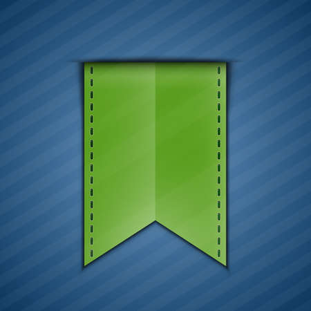 backing: Green bookmark decoration ribbon on blue background  Vector illustration of green silky ribbon