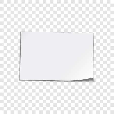 Vector Blatt Papier auf transparentem Hintergrund gewellt Ecke Papier Blatt Vector illustation