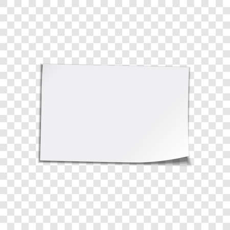 papel de notas: Vector hoja de papel sobre fondo transparente esquina encrespada hoja de papel Vector illustation