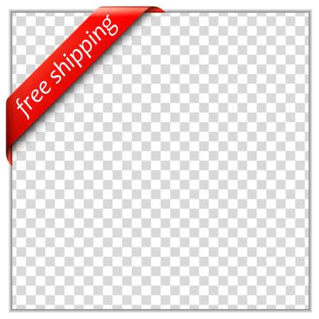 Gratis verzending hoek lint Corner lint sjabloon met wit papier frame en transparante achtergrond Zet uw eigen tekst en achtergrond afbeelding Vector illustratie