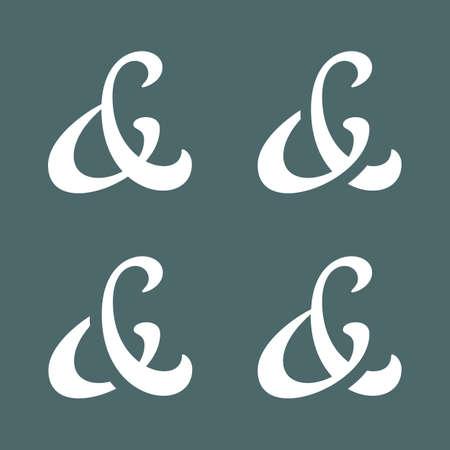 ligature: Elegant custom ampersands for wedding invitation  Vector illustration