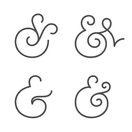 ampersand: Four elegant and stylish custom ampersands for wedding invitation or business card  Vector illustration