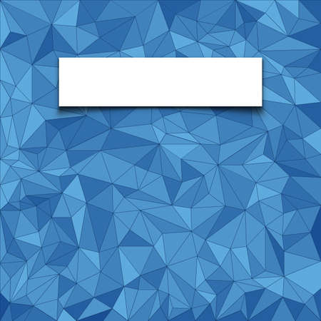 vector pattern: Abstract  blue mosaic pattern with blank white paper banner with shadow  Vector pattern background
