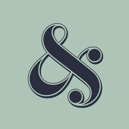 typography signature: Elegante y con estilo s�mbolo & para la invitaci�n de la boda ilustraci�n vectorial