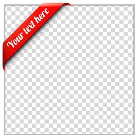 ホワイト ペーパーのフレームと透明な背景の赤コーナー リボン テンプレートを置く独自のテキストと背景イメージ コーナー リボン ベクトル イラ