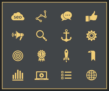 SEO icons  Search engine optimization, internet marketing icons  Vector illustration Vector