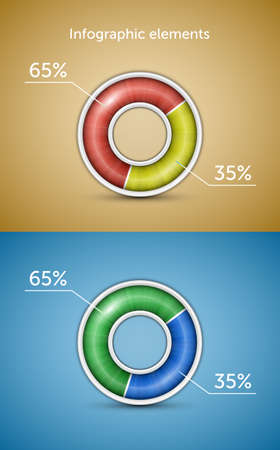Infographic elements  Pie chart, round progress bar with indicator