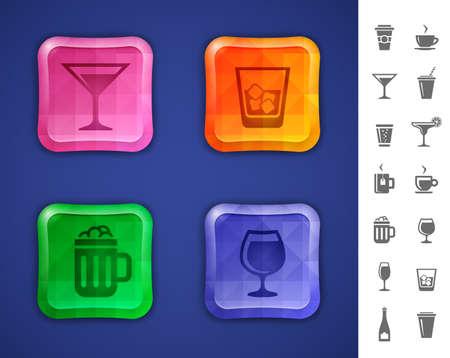 margerita: Bar icon set  Drinks and beverages icons for bar or pub website or app   Illustration