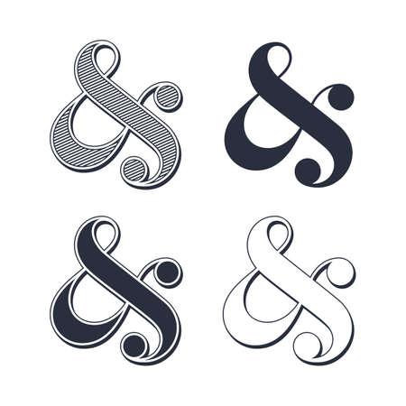 ligature: Elegant and stylish custom ampersands for wedding invitation or business card  Vector illustration
