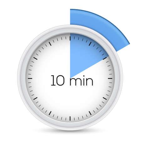 Ten minutes stopwatch timer  Vector illustration