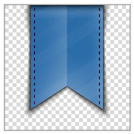 backing: Blue bookmark decoration ribbon on transparent background. Vector illustration