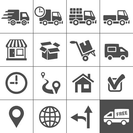 Di logistica e trasporto icone. Illustrazione vettoriale Vettoriali