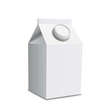envase de leche: Cartón de leche con ilustración tapón de rosca de la caja de leche blanca