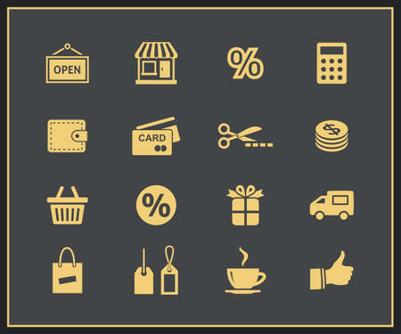 Shopping and promo icons. Vector
