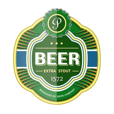 Green beer bottle label template.  Vector