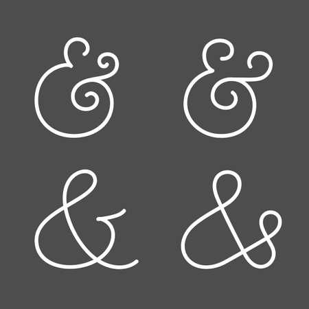 ligature: Four elegant and stylish custom ampersands for wedding invitation or business card. Vector illustration