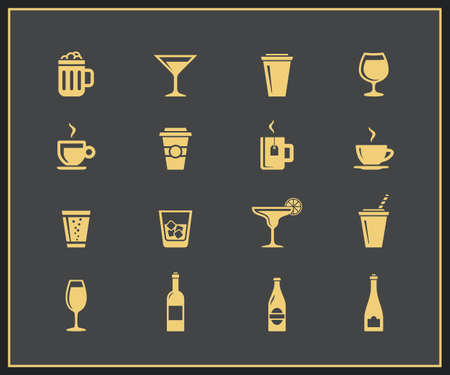 hot water bottle: Drinks and beverages icon set. Vector icons