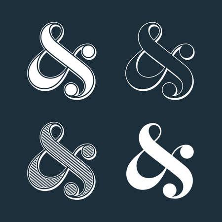 typography design: Stylish custom ampersands on black. Vector illustration