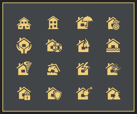 property insurance: Icono de seguro de propiedad establecido. Ilustraci�n vectorial