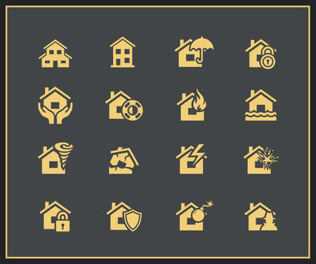 storm damage: Property insurance icon set. Vector illustration Illustration