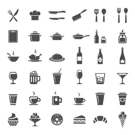 postres: Alimentos y bebidas conjunto de iconos. 36 Restaurante de cocina y espacio para cocinar iconos