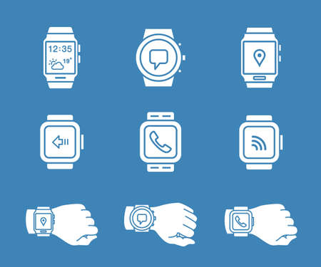 wrist watch: Smartwatch icons. Vector illustration of smart watches.