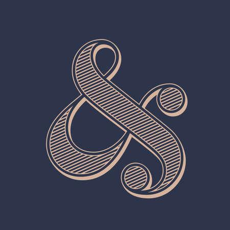 ampersand: Stylish ampersand symbol on dark background. Vector illustration