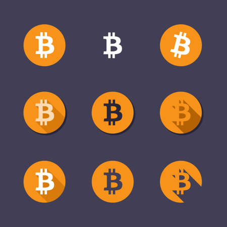 decentralized: Bitcoin icons. Virtual currency flat vector icons