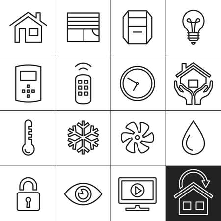 humidity: Smart Home and Smart House Icons. Home automation control systems. Simplines series vector icons Illustration