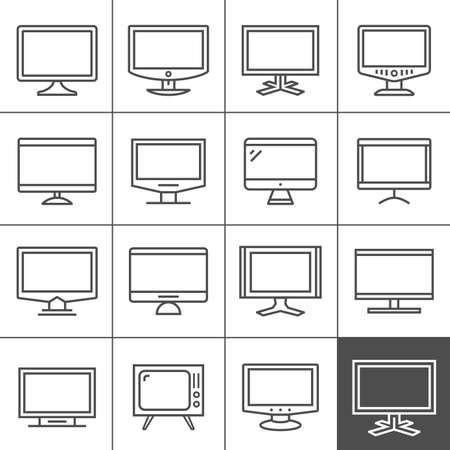 Display devices icon set. Televisions and computer monitors. Screen display and TV icon set. Simplines series Illustration