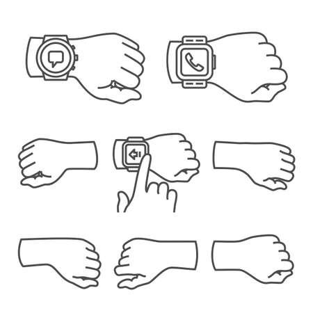 손과 스마트 시계 컬렉션. 벡터 일러스트