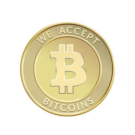 accepter: Nous acceptons bitcoins. Or Bitcoin monnaie virtuelle. Vector illustration