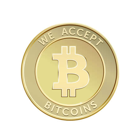 We accept bitcoins. Golden bitcoin virtual currency. Vector illustration