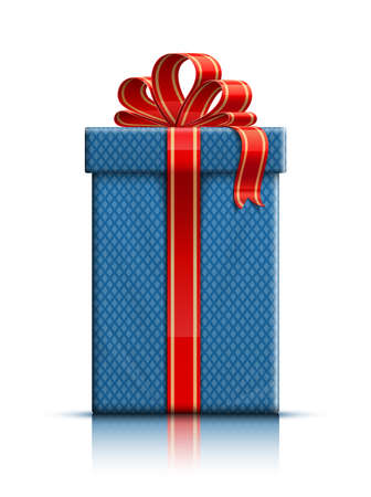 Realistic illustration of gift box with ribbon. Vector illustration Illustration