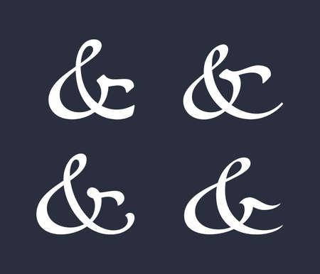 ampersand: Stylish and elegant custom ampersands for invitations or cards. Vector illustration