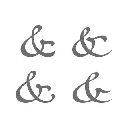 ligature: Custom decoration ampersands for wedding letterpress invitation. Polished hand drawn type. Vector illustration Illustration