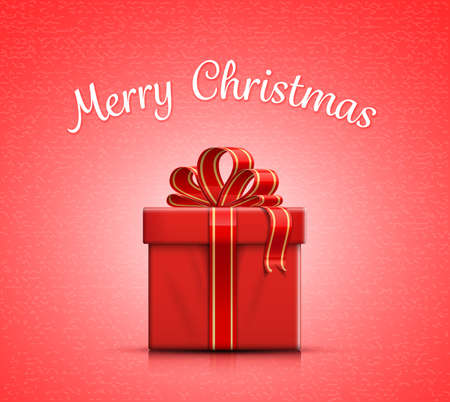 red gift box: Red gift box with ribbon and bow. Merry Christmas. Vector illustration