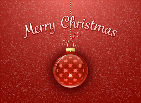Merry Christmas. Christmas card. Christmas bauble on red background with snowflakes Vector