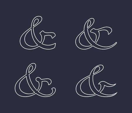 orthographic symbol: Stylish and elegant custom ampersands for invitations or cards. Vector illustration