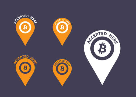 accepted: Bitcoins accepted here sign. Virtual currency flat vector icons Illustration