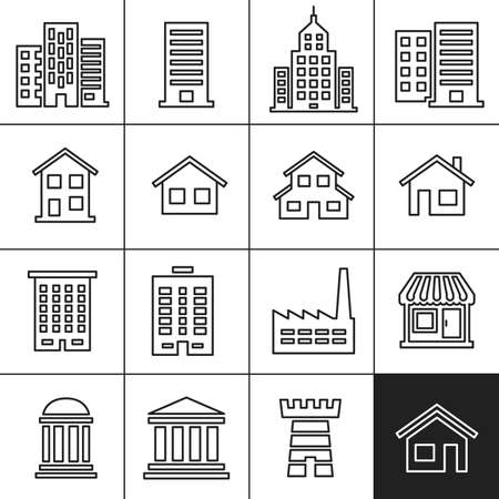 building industry: Building Icons Set. Vector illustration. Simplines series vector icons